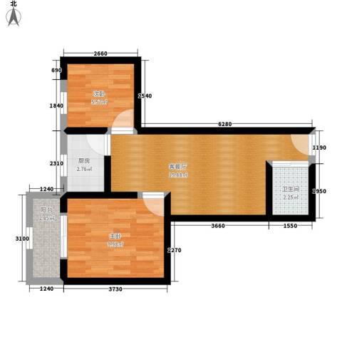 蔚蓝印象2室1厅1卫1厨51.00㎡户型图