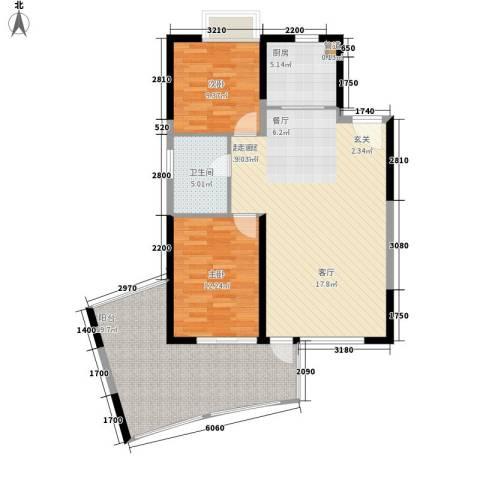 鲁能三亚湾2室0厅1卫1厨94.00㎡户型图