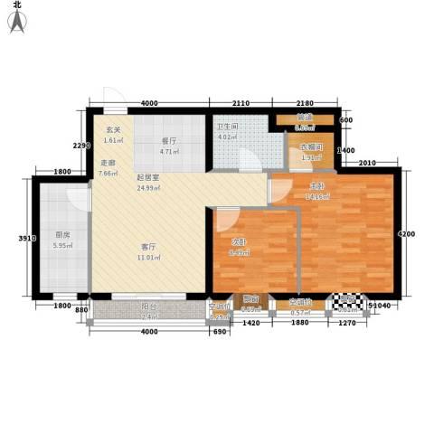 丰润帝景豪庭2室0厅1卫1厨88.00㎡户型图