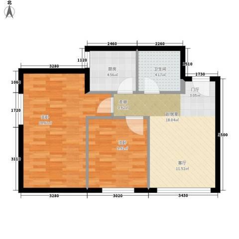 尚品格蓝2室0厅1卫1厨61.00㎡户型图