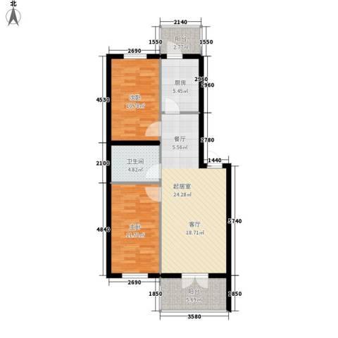 金玉华庭2室0厅1卫1厨92.00㎡户型图