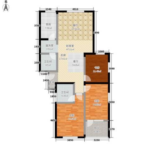 银座晶都国际3室0厅2卫1厨140.00㎡户型图
