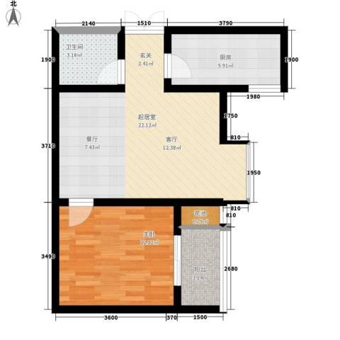 尚品格蓝1室0厅1卫1厨62.00㎡户型图