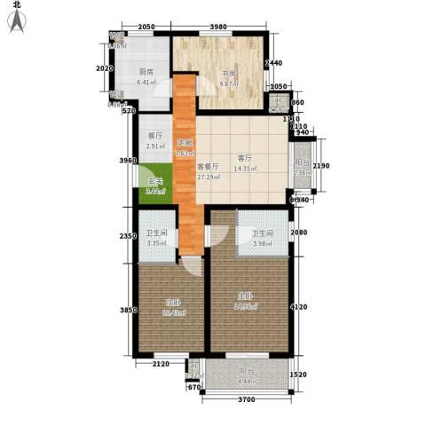 元龙水云间3室1厅2卫1厨120.00㎡户型图