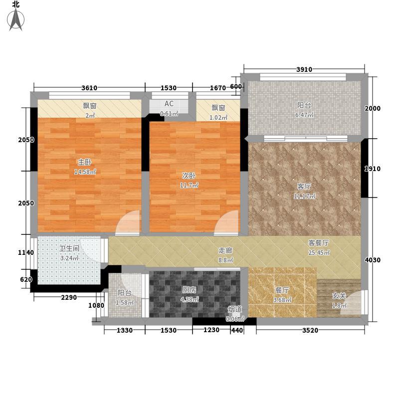 首信皇冠假日77.71㎡一期洋房9/10号楼标准层A1-3/4/5-4户型2室2厅