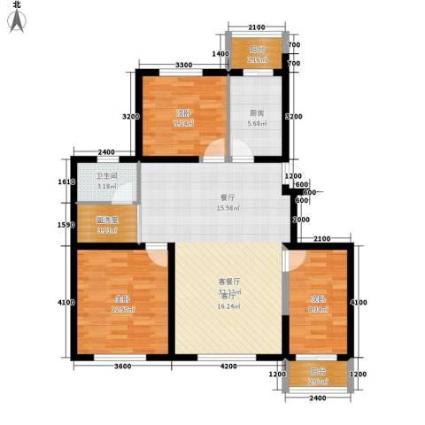 丽馨园3室1厅1卫1厨113.00㎡户型图