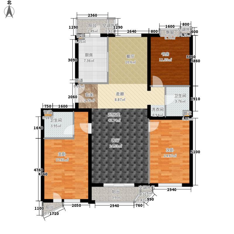 世纪东方城148.58㎡7号楼E(3居)面积14858m户型