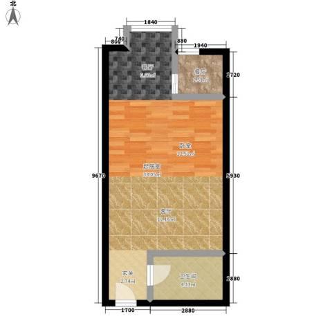 西市佳园1厅1卫0厨44.00㎡户型图