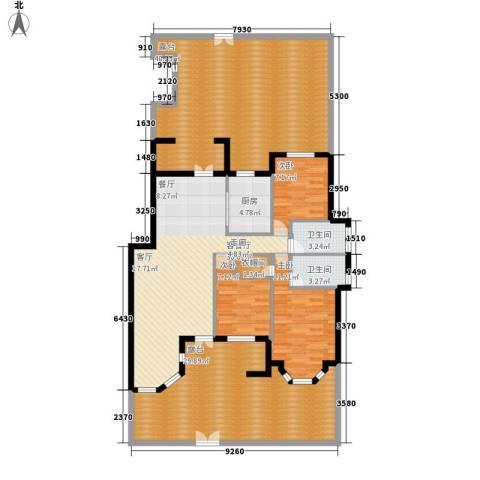 阳光聚宝山庄臻园3室1厅2卫1厨156.00㎡户型图