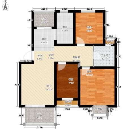 虎阜花园3室0厅1卫1厨112.00㎡户型图