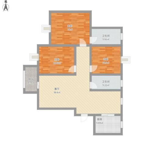 大宅风范成3室1厅2卫1厨138.00㎡户型图