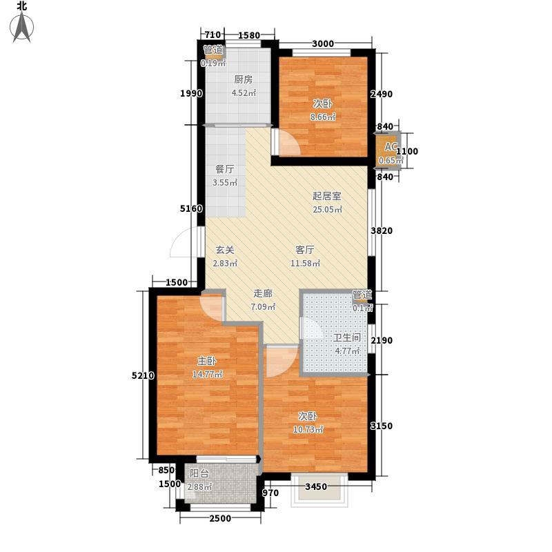 百年福园81.00㎡2号楼C2户型3室1厅