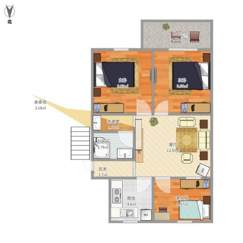 牡丹公寓3室1厅1卫1厨74.00㎡户型图