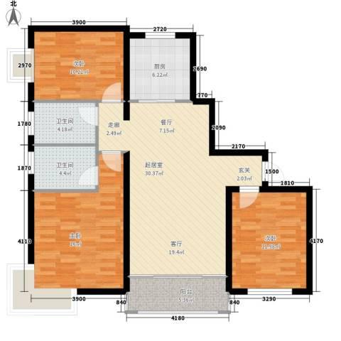 金玉华庭3室0厅2卫1厨125.00㎡户型图