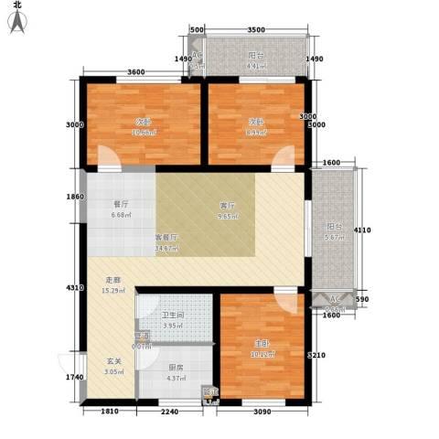 东岸阳光3室1厅1卫1厨119.00㎡户型图