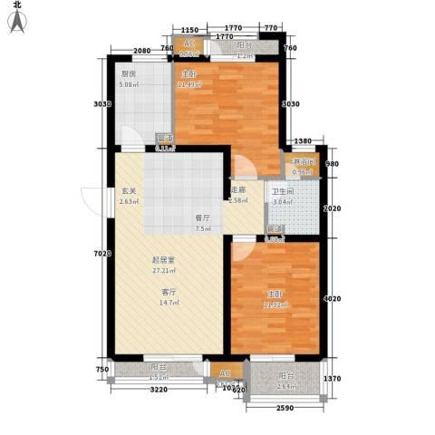 天承锦绣2室0厅1卫1厨97.00㎡户型图
