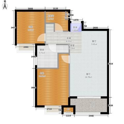 中建群贤汇2室0厅1卫1厨93.00㎡户型图