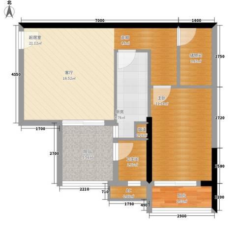 银汇华庭1室0厅1卫1厨76.00㎡户型图