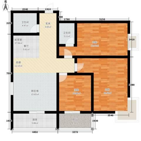 夏日景色3室0厅2卫1厨117.00㎡户型图