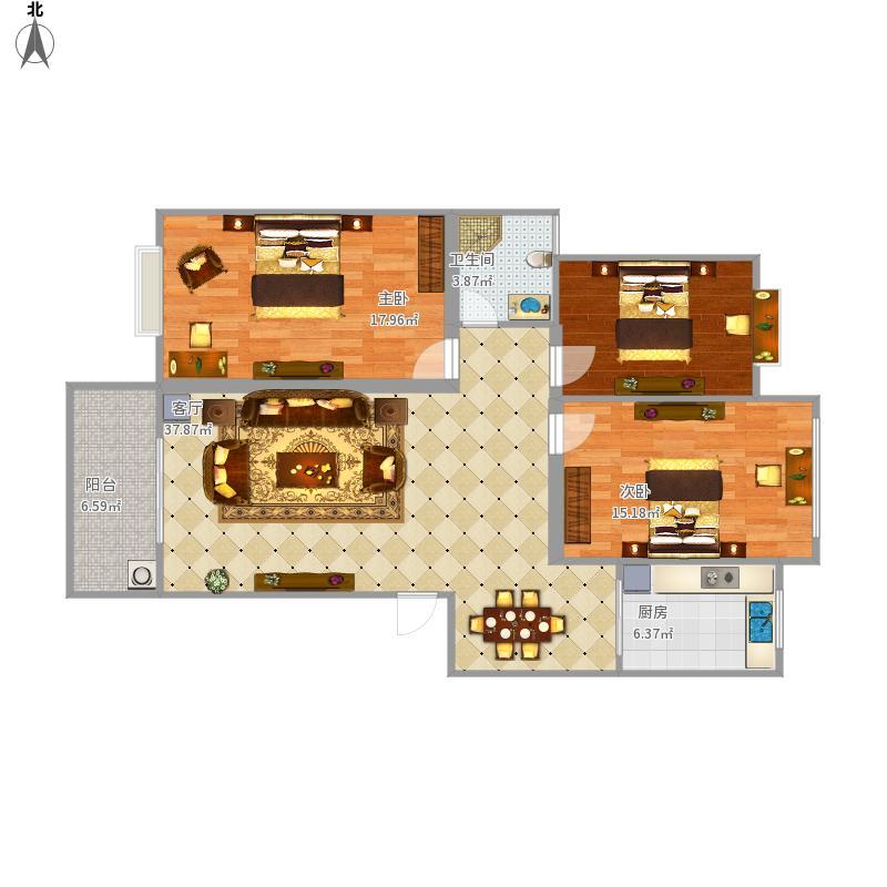 120方三居两厅
