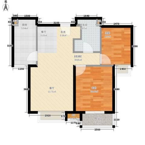中建群贤汇2室0厅1卫1厨89.00㎡户型图