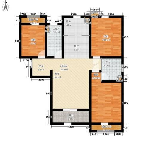 上东城3室1厅2卫1厨139.00㎡户型图