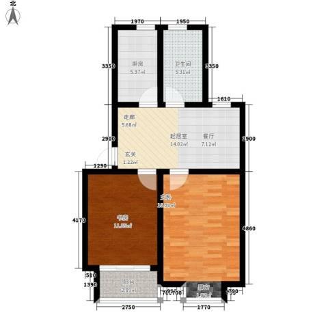 虎阜花园2室0厅1卫1厨81.00㎡户型图
