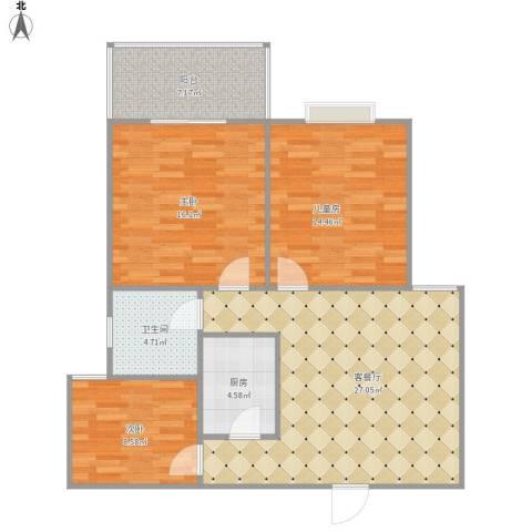 永信花园3室1厅1卫1厨88.78㎡户型图