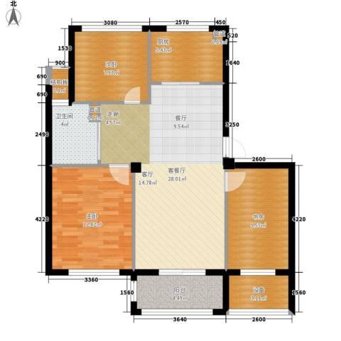 万联凤凰城3室1厅1卫1厨89.00㎡户型图