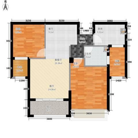 万联凤凰城2室1厅1卫1厨88.00㎡户型图