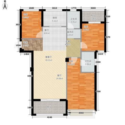 万联凤凰城3室1厅2卫1厨125.00㎡户型图