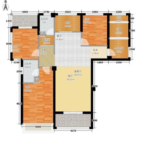 万联凤凰城3室1厅2卫1厨133.00㎡户型图
