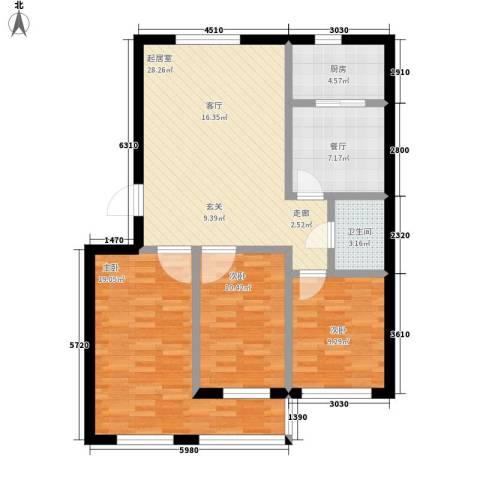 达生凤苑龙居3室1厅1卫1厨119.00㎡户型图
