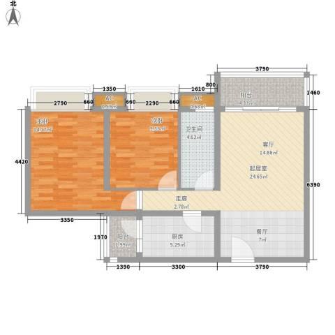 合生君景湾2室0厅1卫1厨92.00㎡户型图