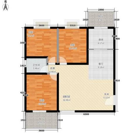 达生凤苑龙居3室0厅1卫1厨126.00㎡户型图