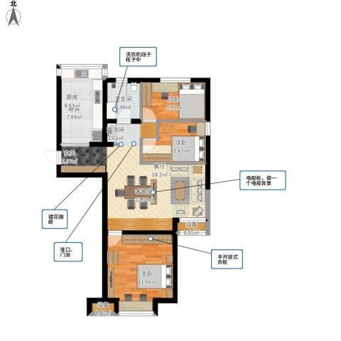 通用富馨佳苑3室1厅1卫1厨83.00㎡户型图