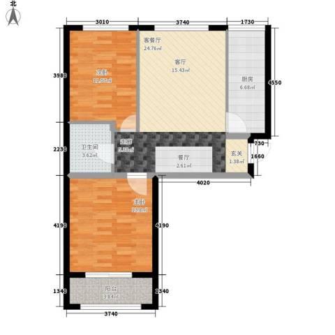 东城景苑2室1厅1卫1厨90.00㎡户型图