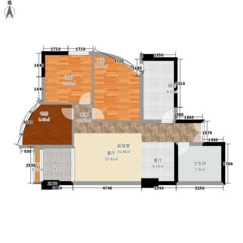 中天国际公寓3室0厅1卫1厨112.00㎡户型图