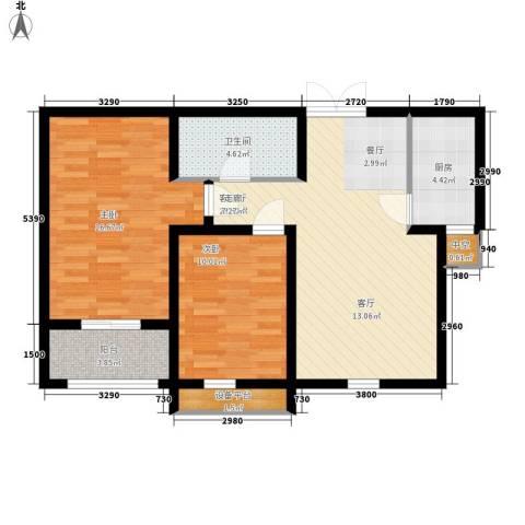 上东城2室1厅1卫1厨94.00㎡户型图