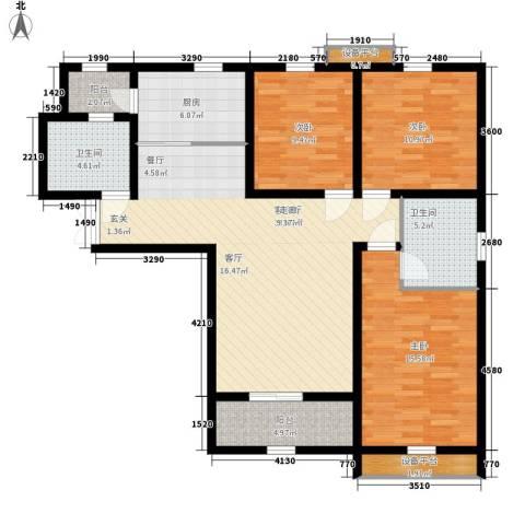 上东城3室1厅2卫1厨135.00㎡户型图