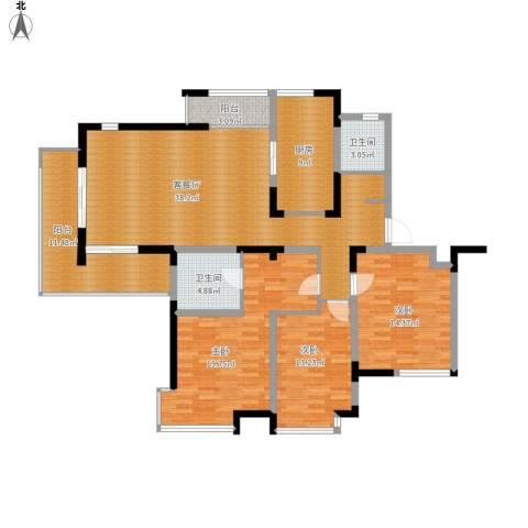 东湖大郡3室1厅2卫1厨165.00㎡户型图