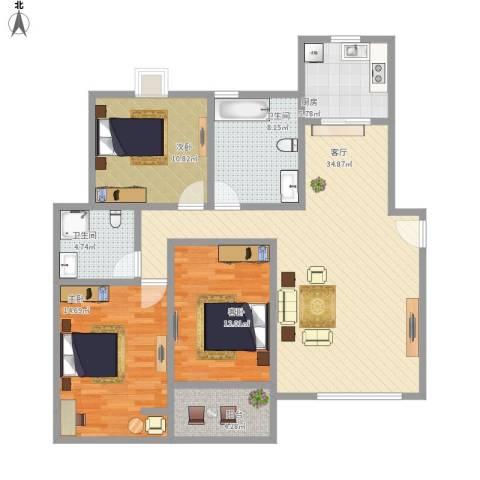 金色池塘3室1厅2卫1厨134.00㎡户型图