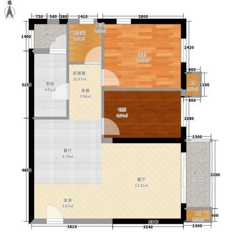晶城秀府2室0厅1卫1厨80.00㎡户型图