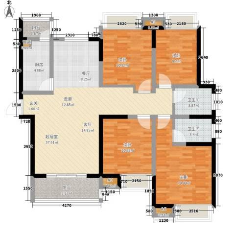 豪盛时代华城4室0厅2卫1厨139.00㎡户型图