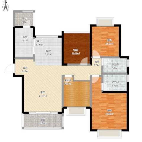 合景叠翠峰3室1厅2卫1厨162.00㎡户型图