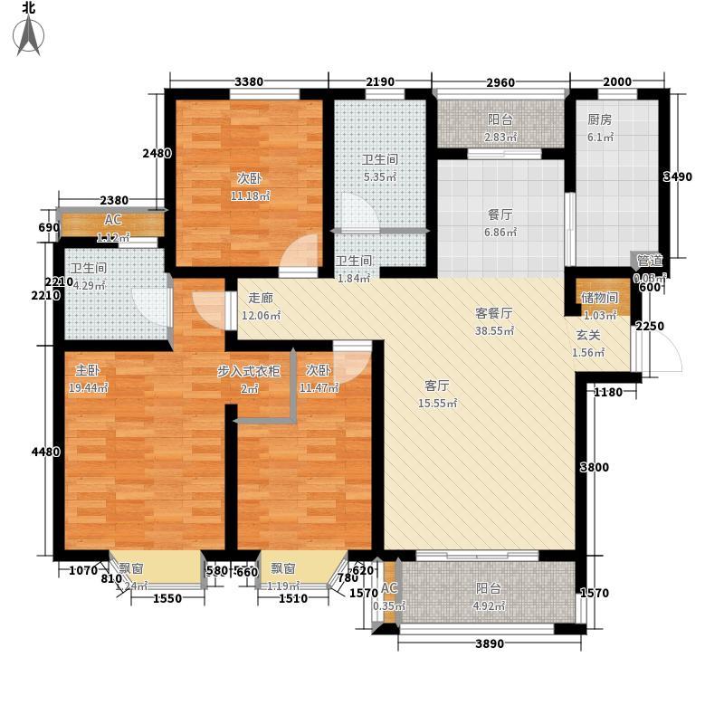 绿地崴廉公寓125.67㎡一期e6面积12567m户型