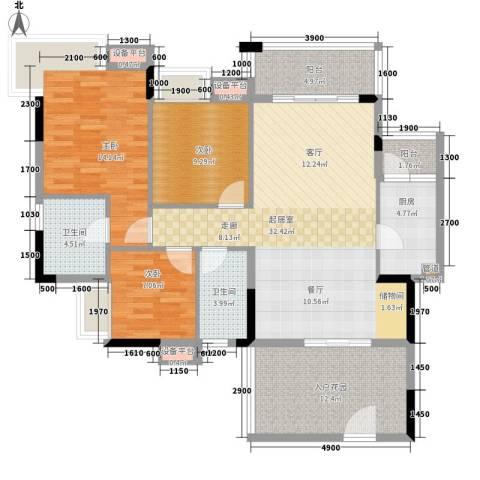 好美嘉园3室0厅2卫1厨110.00㎡户型图