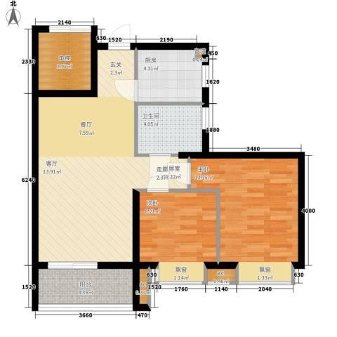 海伦堡御院2室0厅1卫1厨73.00㎡户型图