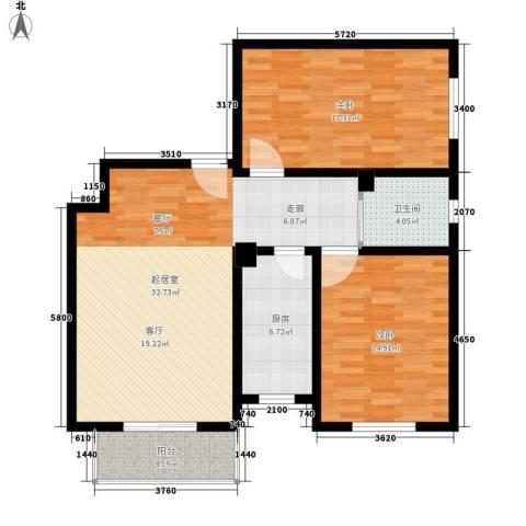 东港龙城2室0厅1卫1厨91.00㎡户型图