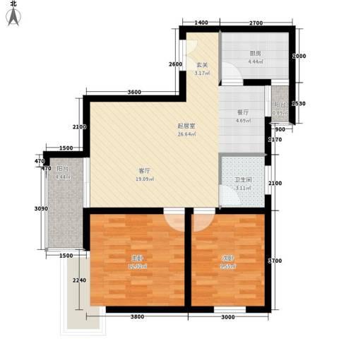 宏林尚品2室0厅1卫1厨90.00㎡户型图